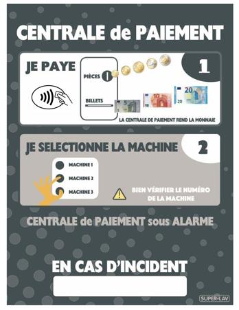 Panneau d'instructions centrale de paiement à bouton et sans contact