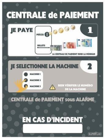 Panneau d'instructions centrale de paiement à bouton