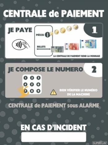 Panneau d'instructions centrale de paiement à clavier et sans contact