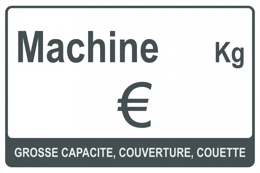 Panneau affichage Prix/Capacité Machine grosse capacité